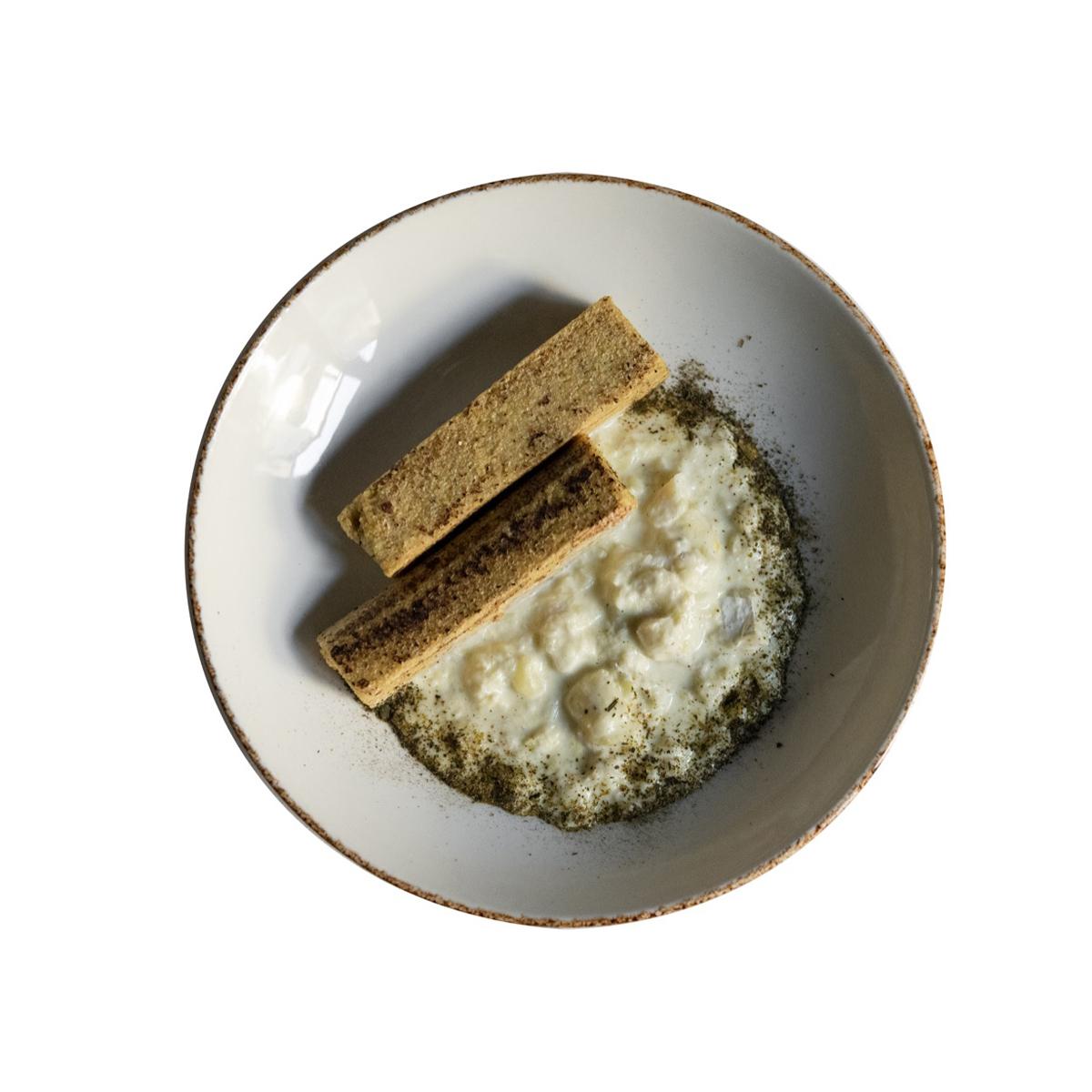 Baccalà mantecato con porri, patate e mais grigliato